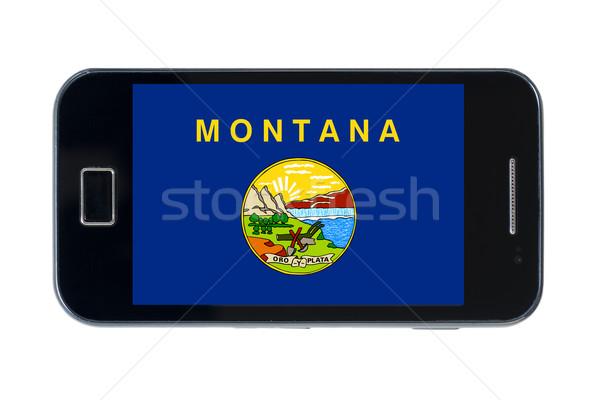 Okostelefon zászló amerikai Montana telefon telefon Stock fotó © vepar5