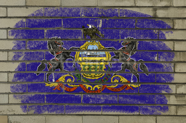 grunge flag of US state of pennsylvania on brick wall painted wi Stock photo © vepar5