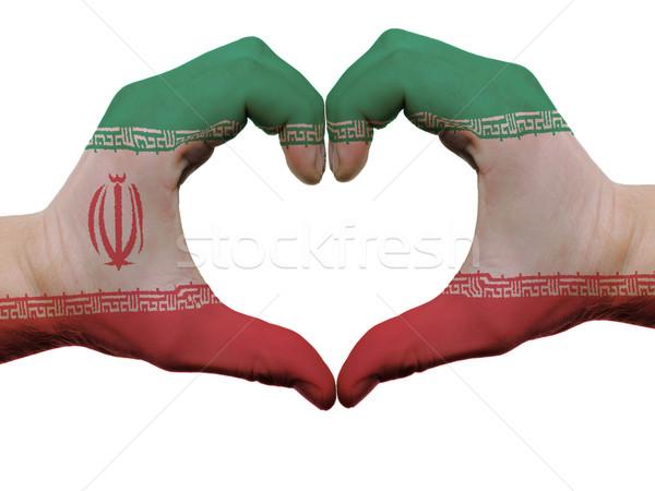Kalp sevmek jest İran bayrak renkler Stok fotoğraf © vepar5