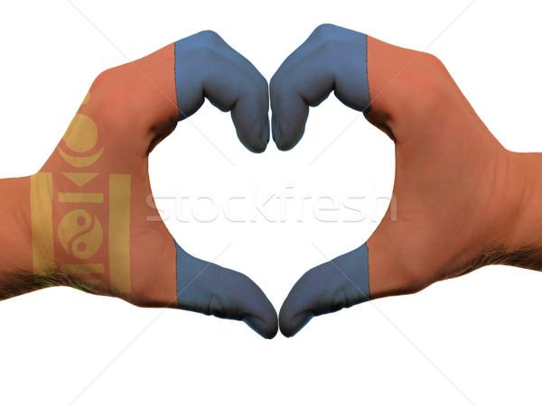Szív szeretet kézmozdulat Mongólia zászló színek Stock fotó © vepar5