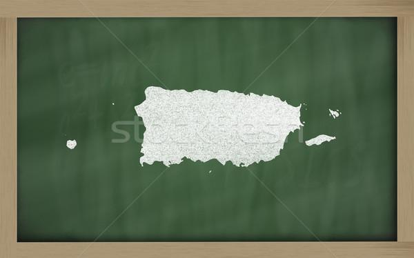Schets kaart Puerto Rico Blackboard tekening Stockfoto © vepar5