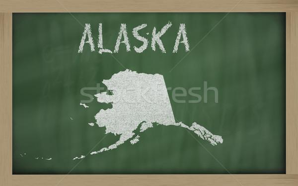 Сток-фото: карта · Аляска · доске · рисунок · доске