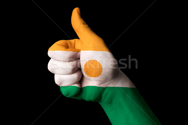 niger national flag thumb up gesture for excellence and achievem Stock photo © vepar5