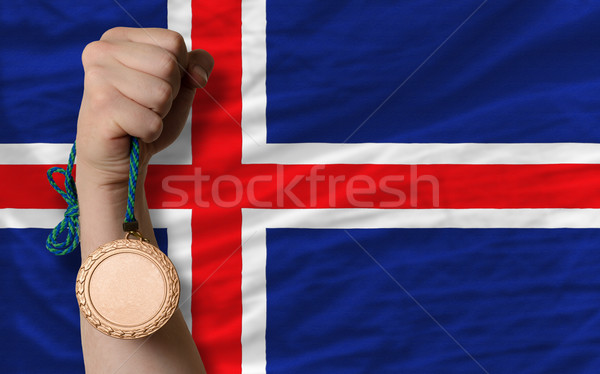 Bronze medal for sport and  national flag of iceland    Stock photo © vepar5