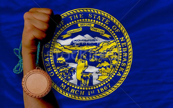 Bronz érem sport zászló amerikai Nebraska Stock fotó © vepar5