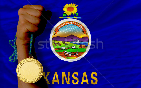 Gold medal for sport and  flag of american state of kansas    Stock photo © vepar5