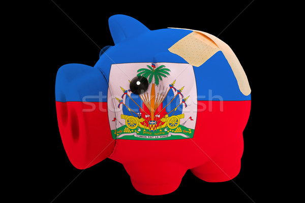 bankrupt piggy rich bank in colors of national flag of haiti     Stock photo © vepar5