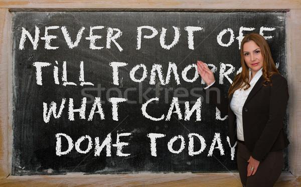 Leraar tonen nooit af morgen wat Stockfoto © vepar5