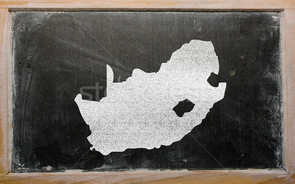 Stock photo: outline map of south africa on blackboard