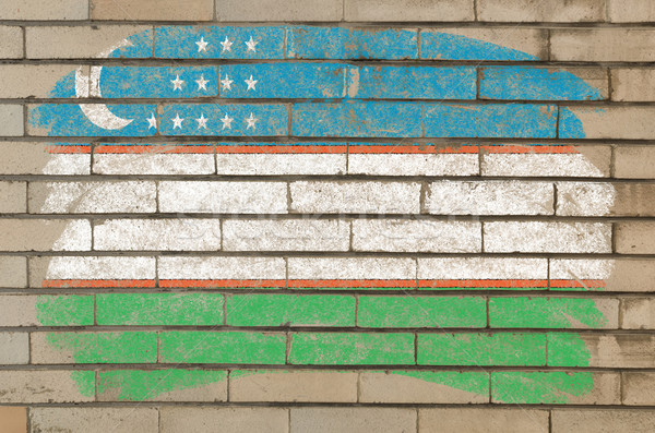 флаг Узбекистан Гранж кирпичная стена окрашенный мелом Сток-фото © vepar5
