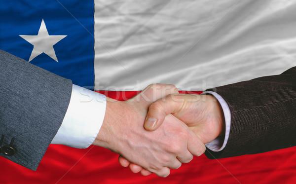 Empresários bom tratar Chile bandeira negócio Foto stock © vepar5