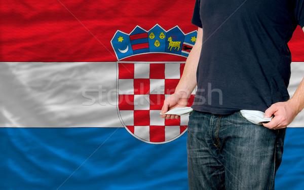 Recesja młody człowiek społeczeństwo Chorwacja ubogich człowiek Zdjęcia stock © vepar5