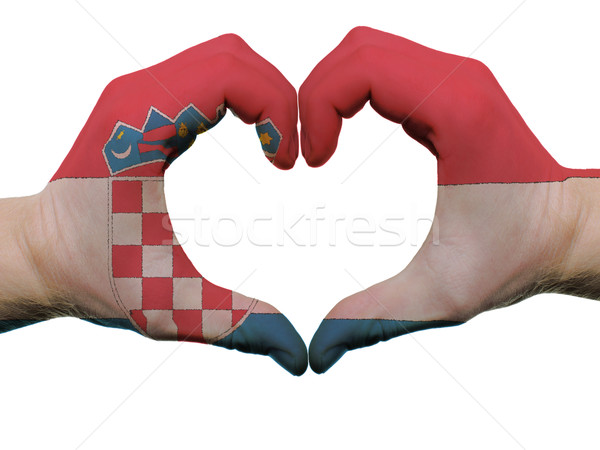 Heart and love gesture in croatia flag colors by hands isolated  Stock photo © vepar5