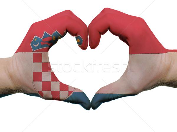 Kalp sevmek jest Hırvatistan bayrak renkler Stok fotoğraf © vepar5