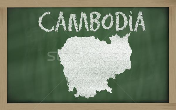 outline map of cambodia on blackboard  Stock photo © vepar5