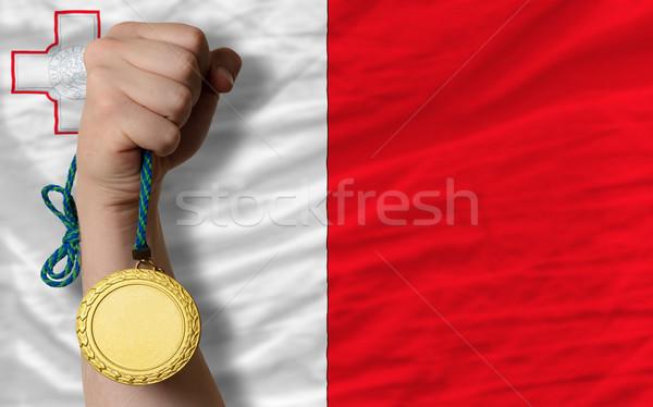 Złoty medal sportu banderą Malta zwycięzca Zdjęcia stock © vepar5