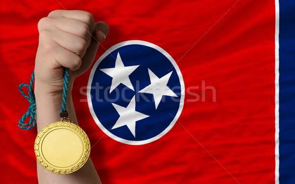 Złoty medal sportu banderą amerykański Tennessee zwycięzca Zdjęcia stock © vepar5