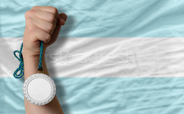 Silver medal for sport and  national flag of argentina    Stock photo © vepar5
