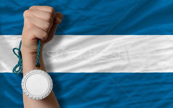 Zilver medaille sport vlag El Salvador Stockfoto © vepar5