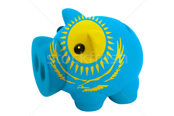 Stock photo: piggy rich bank in colors  national flag of kazakhstan    for sa