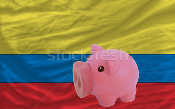 piggy rich bank and  national flag of columbia    Stock photo © vepar5