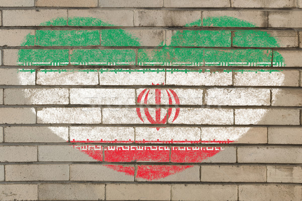 heart shape flag of iran on brick wall Stock photo © vepar5