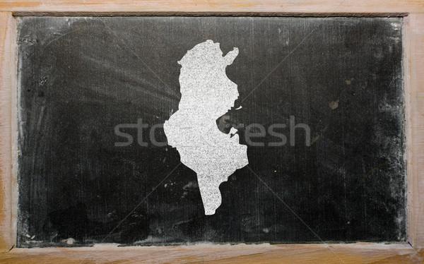 outline map of tunisia on blackboard  Stock photo © vepar5