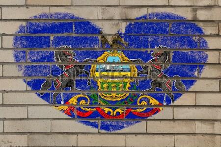 Grunge bandeira Connecticut parede de tijolos pintado americano Foto stock © vepar5