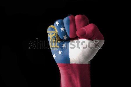 Pięść malowany kolory Gruzja banderą Zdjęcia stock © vepar5