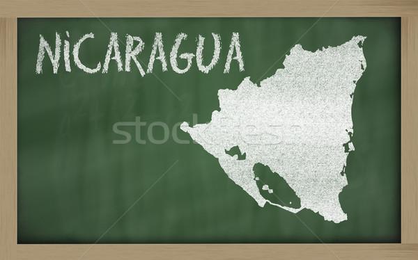 Skicc térkép Nicaragua iskolatábla rajz rajzolt Stock fotó © vepar5