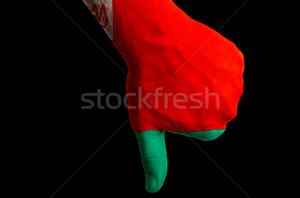 belarus national flag thumb down gesture for failure made with h Stock photo © vepar5