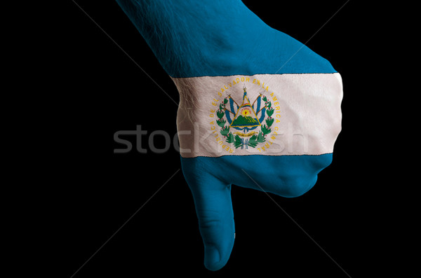 el salvador national flag thumbs down gesture for failure made w Stock photo © vepar5
