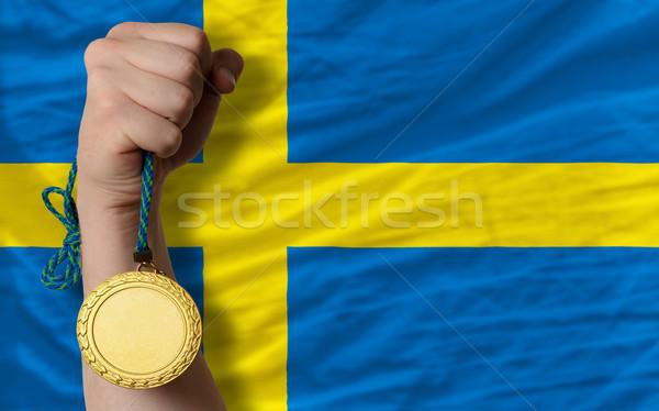 Aranyérem sport zászló Svédország nyertes tart Stock fotó © vepar5