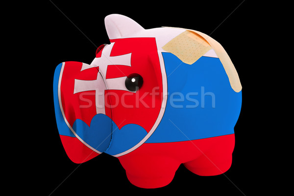 bankrupt piggy rich bank in colors of national flag of slovakia  Stock photo © vepar5