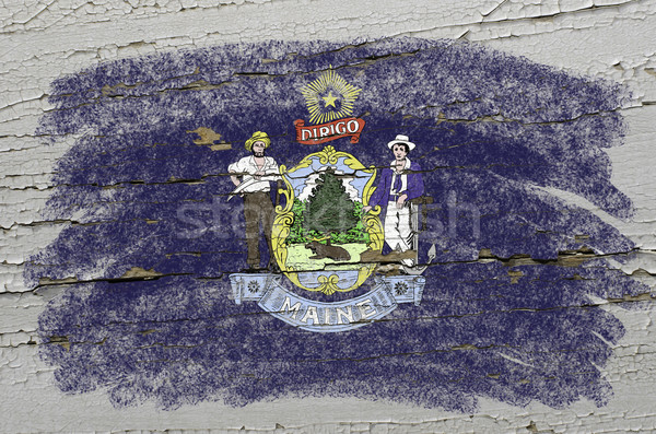 flag of US state of maine on grunge wooden texture precise paint Stock photo © vepar5