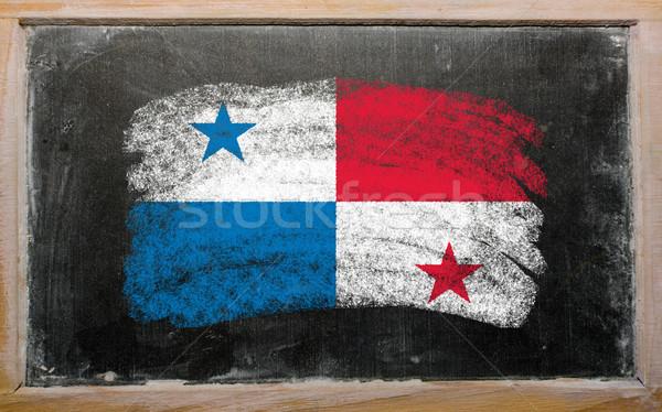 Zászló Panama iskolatábla festett kréta szín Stock fotó © vepar5