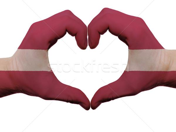 Hart liefde gebaar Letland vlag kleuren Stockfoto © vepar5