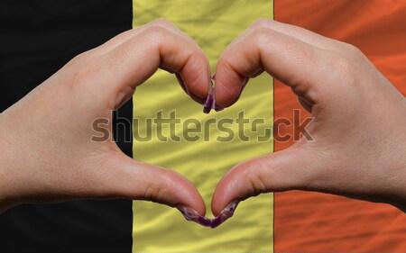Szív szeretet kézmozdulat kezek zászló Ukrajna Stock fotó © vepar5