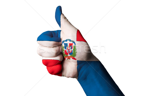 dominican national flag thumb up gesture for excellence and achi Stock photo © vepar5