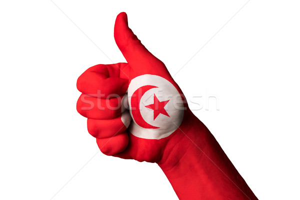tunisia national flag thumb up gesture for excellence and achiev Stock photo © vepar5