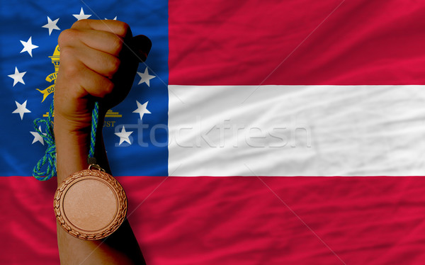 Bronze medal for sport and  flag of american state of georgia    Stock photo © vepar5