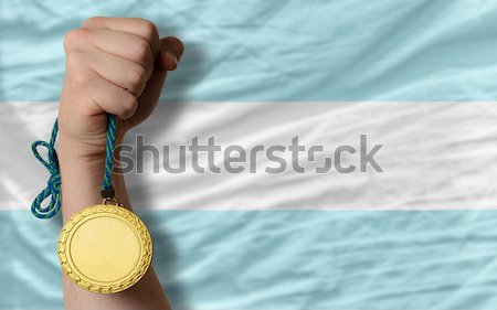 Gold medal for sport and  national flag of estonia    Stock photo © vepar5
