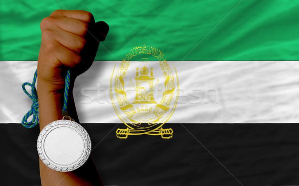 Prata medalha esportes bandeira Afeganistão Foto stock © vepar5