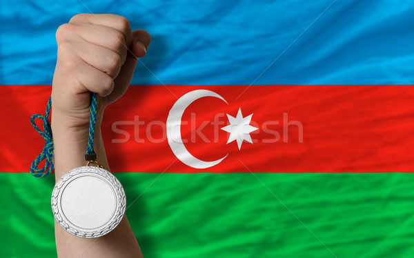Ezüst érem sport zászló Azerbajdzsán tart Stock fotó © vepar5