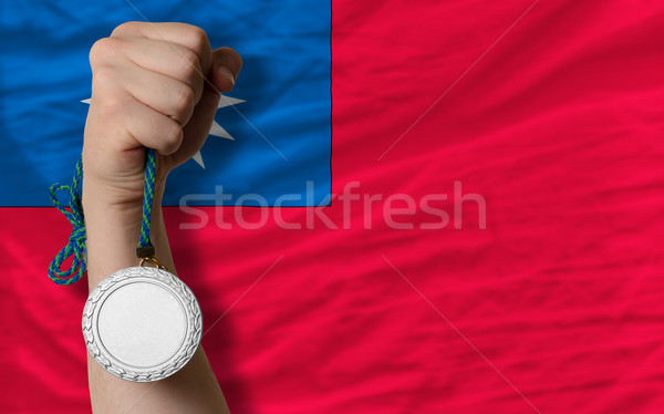 Silver medal for sport and  national flag of taiwan    Stock photo © vepar5