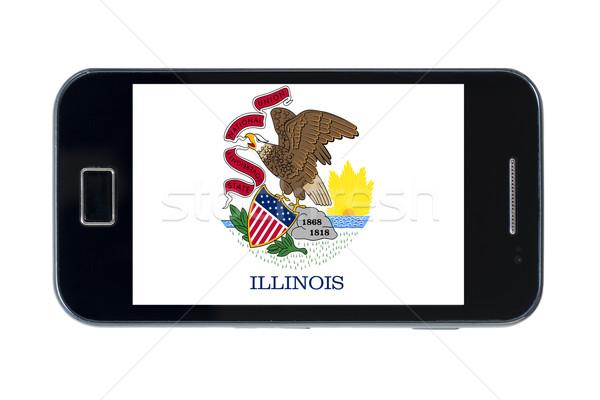 смартфон флаг американский Иллинойс телефон интернет Сток-фото © vepar5