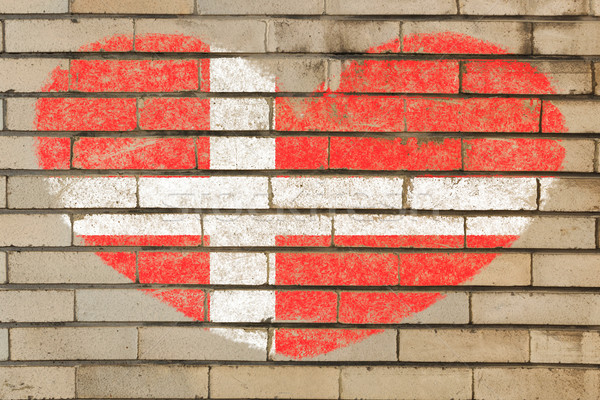 heart shape flag of denmark on brick wall Stock photo © vepar5