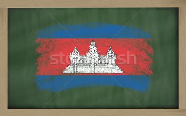 Bandeira Camboja lousa pintado giz cor Foto stock © vepar5