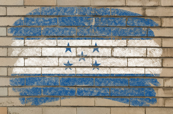 Stockfoto: Vlag · Honduras · grunge · muur · geschilderd · krijt