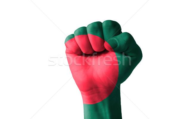 Vuist geschilderd kleuren Bangladesh vlag laag Stockfoto © vepar5